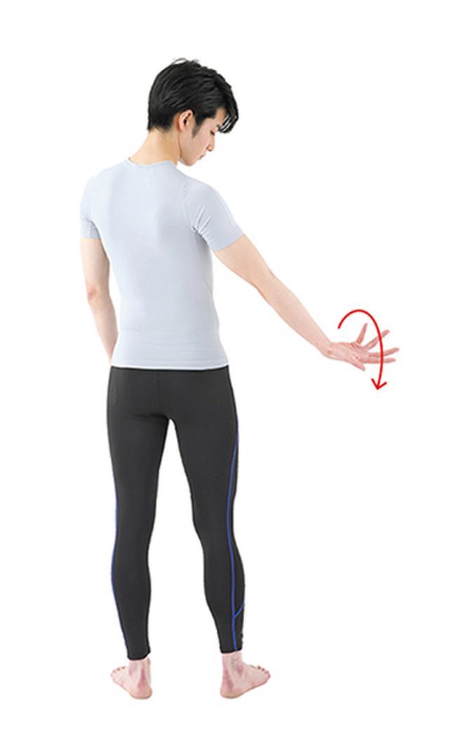 画像: ①片腕を上げ、手のひらを上に向ける
