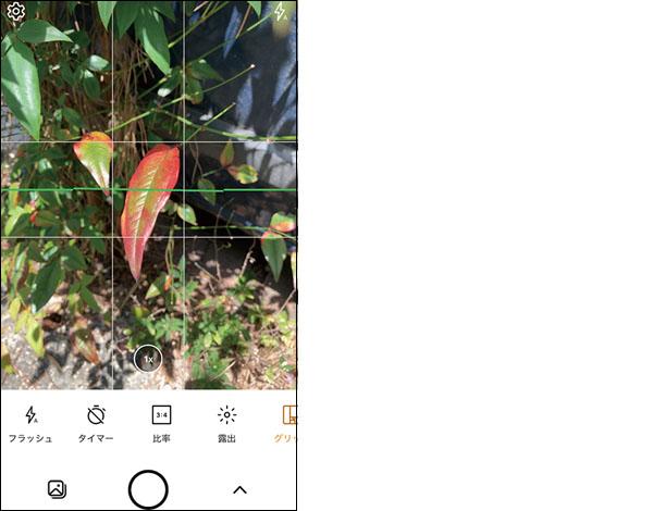 画像: 撮影画面に各種グリッド(格子)が表示され、アングルを決めやすい。水準器もあり、正確に水平を取れる。