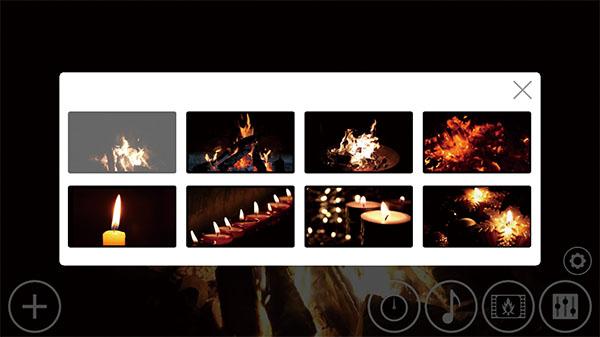 画像: たき火やろうそくの灯など、好みに合わせた炎のエンドレス映像を8種類の中から選択できる。