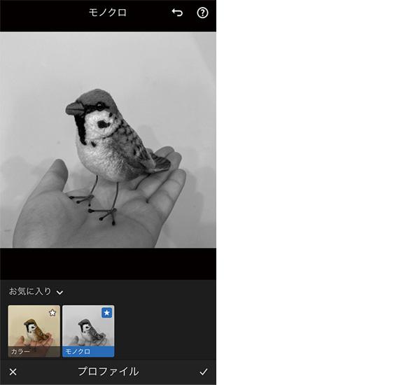 画像: 画質調整の手順を記録した「プロファイル」を利用可能。無料の標準状態では、既存写真をモノクロ化するためのプロファイルが付属している。