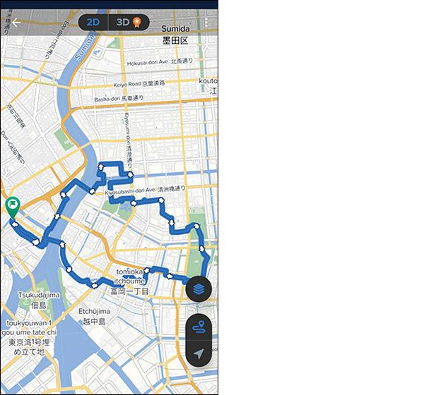 画像: ルート中の高低差がわかる。各地のおすすめルートも走行可能。