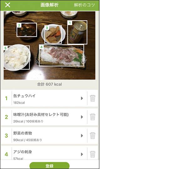 画像: 料理の写真を撮るだけで、献立の内容を分析してくれるので、入力の手間が省ける。