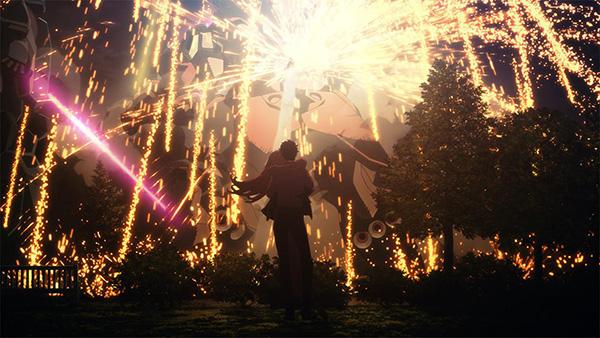 画像: ハサウェイとギギの目の前で繰り広げられるモビルスーツ戦。 (C)創通・サンライズ