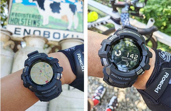 画像: 左が目的地を地図表示したもので、右がライド後すぐの心拍数を表示。ウォッチフェイスには、心拍数と勾配が表示されるている。