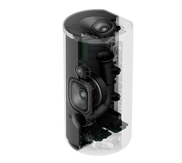 画像: HT-A9のスピーカーの内部。2ウェイスピーカーの上部にイネーブルドスピーカーが配置されている。