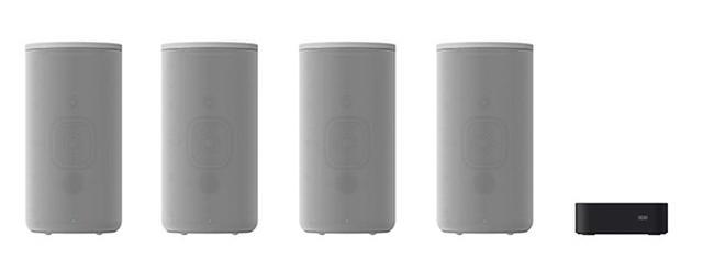 画像: ソニー HT-A9。スピーカー4本とコントロールボックスがセットになっている。