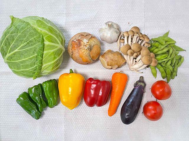 画像: これだけの種類の野菜を食べられます!緑黄色野菜は、にんじん、トマト、赤パプリカ、緑ピーマンです。