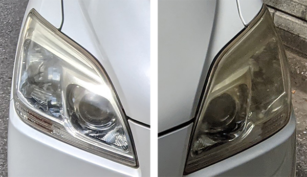 画像: 施行前の状態。写真左はヘッドライト上部の黄ばみが目立ち、写真右は全体的に黄ばみが目立つ。
