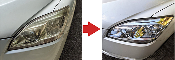 画像: 写真左側が施工前。写真右側が施工後。かなり透明度が上がった