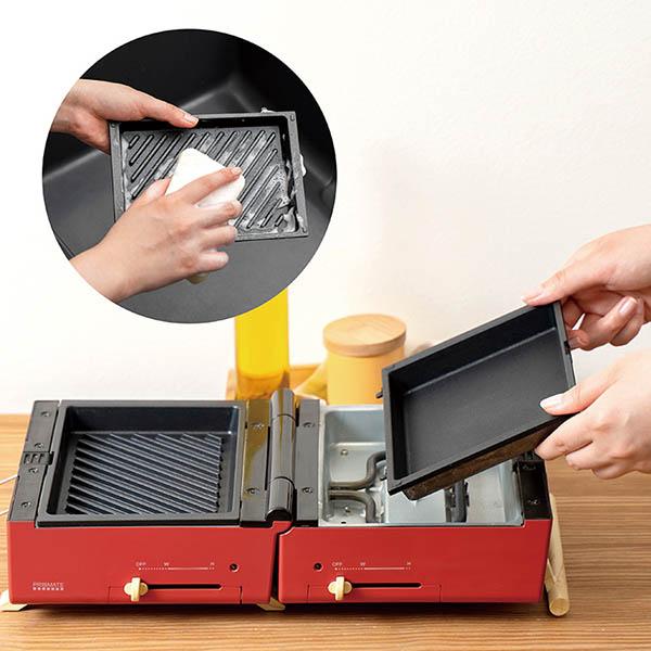 画像: フッ素樹脂加工のプレート。本体から外して丸洗いしやすいので、常に清潔な状態で使うことができる。