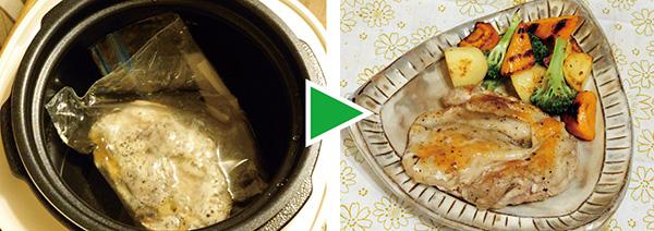 画像: 鶏もも肉を密閉袋に入れて、水と一緒に鍋に入れる。約4時間、低温調理したあと、フライパンで焼き目を付けた。