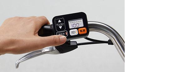 画像: 「押歩き」のスイッチを押し続けることで押し歩きをアシスト。指を離すとアシスト機能がオフになる。
