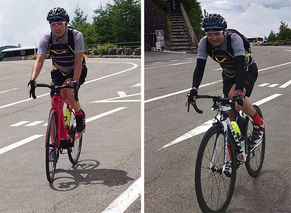 画像: ロードバイク(写真右)で登り切ったあとは脚がプルプルなのだ。(e-bikeは23分、ロードバイクは33分)