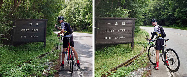 画像: 写真左のe-bikeはターボモードだったこともあり、汗ひとつかいていない.。(e-bikeは18分、ロードバイクは29分)