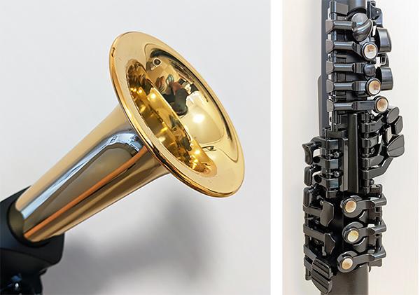 画像: 「YDS-150」唯一となる金属部分がこのベル部分(写真左)。そのほかの部分は樹脂が使用されている。 キー配列(写真右)は、アコースティックと同じだから、アコースティックに慣れ親しんでいる方にも、 違和感なく使用できそうだ。