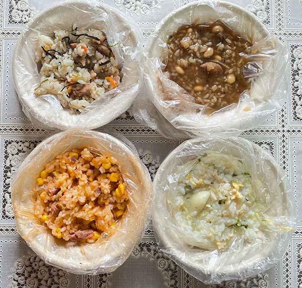 画像: 左上から時計回りに、五目とりめし、茶がゆ、参鶏湯風おかゆ、チキンピラフ。