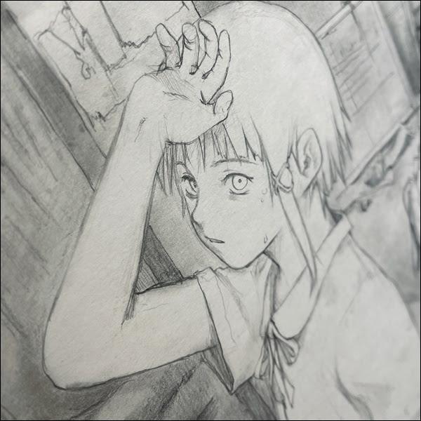 画像: 鉛筆画での主人公、岩倉玲音の1カット。