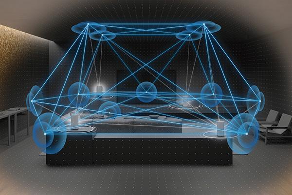 画像: 4本のスピーカーから最大12個のファントム(仮想)スピーカーを生成する「360 Spatial Sound Mapping」を採用。ドルビーアトモスやDTS:Xにも対応する。
