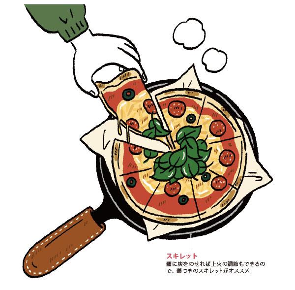 画像: アウトドアで食べる炭火の香りのピザ