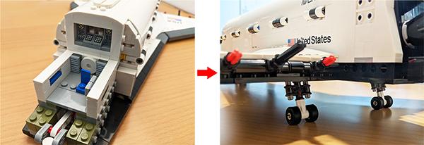 画像: 写真左はコックピット部分。写真右は可動式の車輪で、タイヤはブロックではなくゴム製だった。