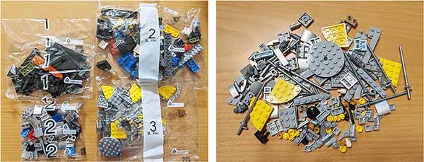 画像: ハッブル宇宙望遠鏡の作製するには小分けされた袋を4つ使用する。1から順番に開封し、組み上げていく。 細かなパーツが多いから、なくさないように注意が必要だ。右の写真は3の袋を開けたところ。