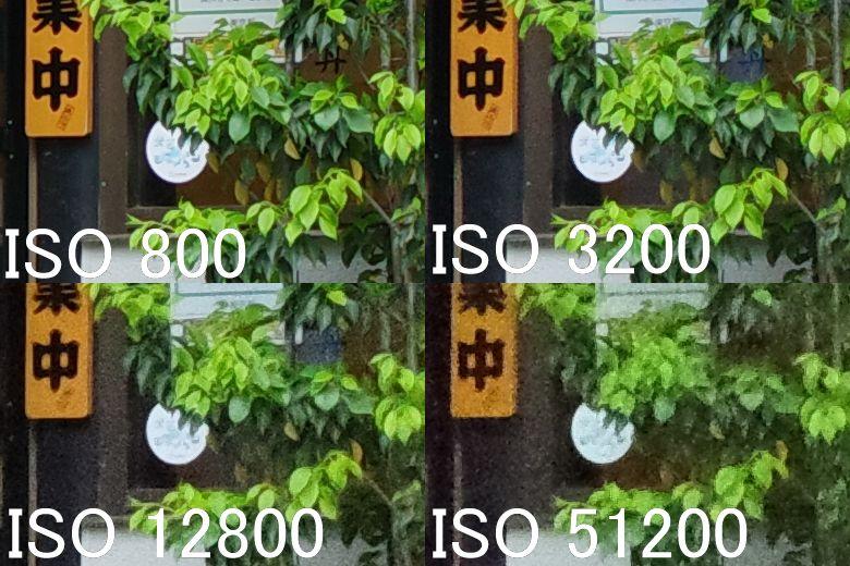 画像: 長辺6192×短辺4128ピクセルの画像から、狭い一部分(長辺390ピクセル)を切り出して並べてみた。ISO800はもちろん、2段上のISO3200でもノイズは少なく細部描写も良好。さらに2段上のISO12800になると、エッジに甘さが見られ、全体的にざらつきも見られる。だが、被写体や撮影状況によっては、まだ実用範囲内だと感じた。その2段上のISO51200になると、さすがに細部描写の甘さやざらつき感が気になってくる。ただし、ここまで感度を上げても色再現は安定している。