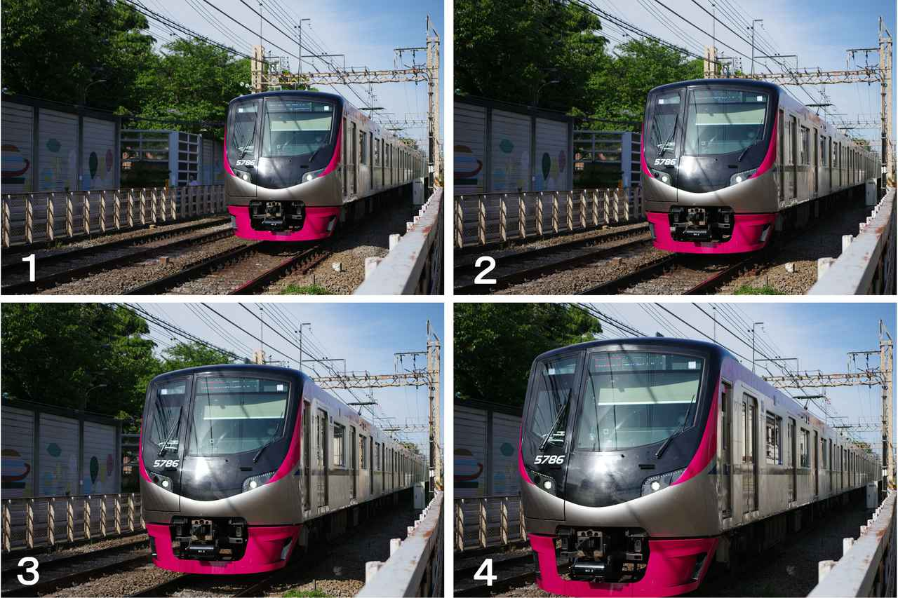 画像: 向かって来る列車を、線路脇から最高約11コマ/秒の高速連写(AF.Cモードで)。その中の連続する4カットを並べてみた。高速で走行する列車は、あっという前に目の前を通り過ぎて行くが、秒間10コマ以上の高速連写だったので、割と満足できる瞬間が捉えられた。