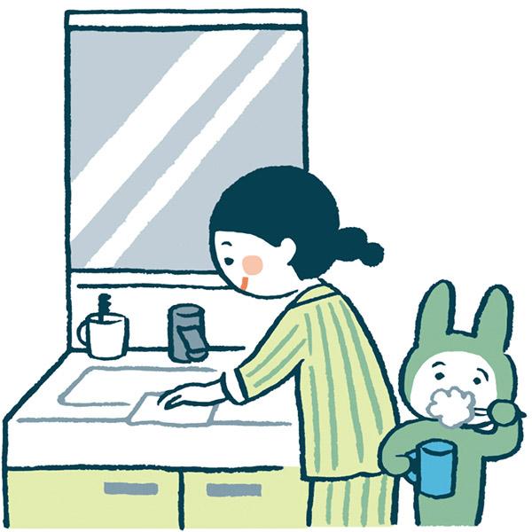 画像: 歯磨きのついでに手を拭くタオルで、洗面台周りをサッと拭いて洗濯機へ。毎日、たった1分で洗面所がキレイになって、家族も気持ちよく使えます。