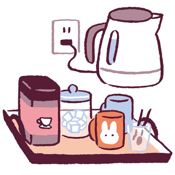 画像: コーヒーセットを近くにまとめて置く