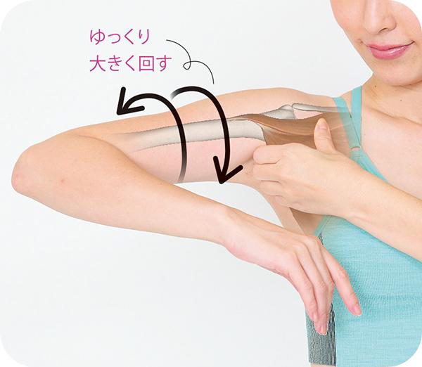 画像: ①わきの内側をつかみ、腕を回す