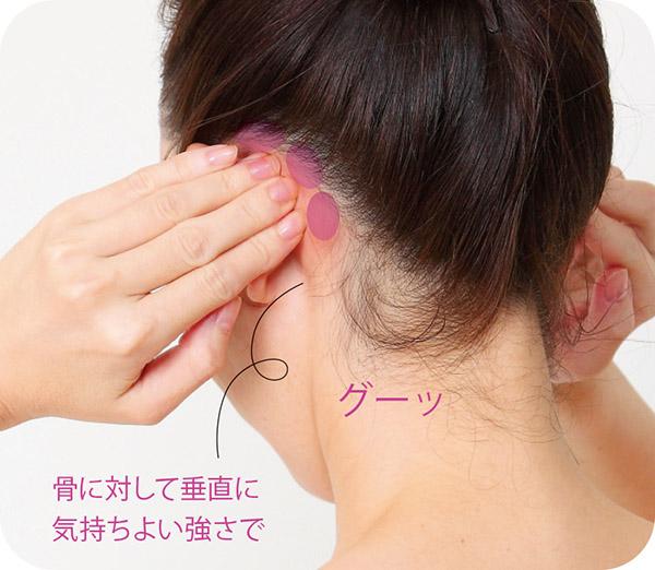 画像: ②両耳の裏側を押す
