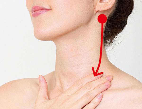 画像: 耳の下から、鎖骨に向けて4本の指でさする。