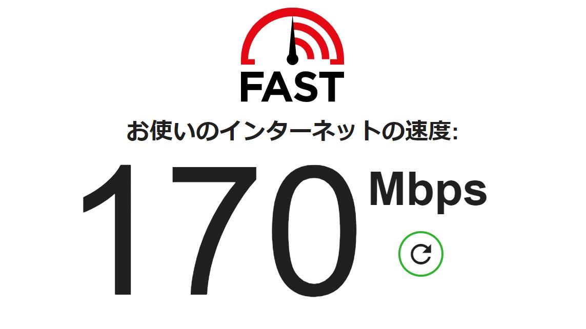 画像: 自宅の光回線で計測 fast.com