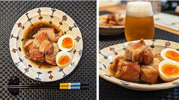 画像: 「箸で切れる角煮」が完成!味もよく染み込んで美味。思わずビールを添えてしまった。初めての料理に乾杯!