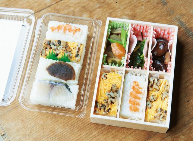画像: お祭りでは寿司やお菓子の販売も。これは小豆島北部に伝わる郷土料理「石切り寿司」。酢飯がぎっしりと押されてある