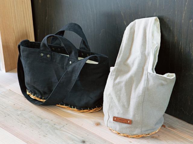 画像: こちらふたつも同じく「アーデムスーオー」のもの。一見、素朴な布バッグ、けれど底部分を見ると籐素材になっている。「持ったときに、ほんの少しだけかごが見える……というさじ加減が面白いと思います」