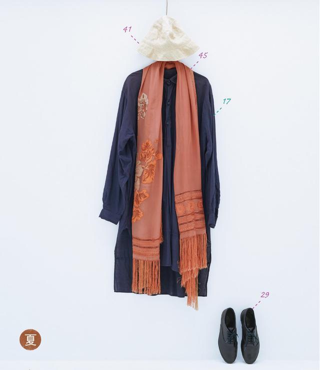画像: 17. エッグのインド綿ロングシャツ。29. コム・デ・ギャルソンのスニーカー。41. クールの紙繊維製。45. ドリスヴァンノッテンのシルクショール