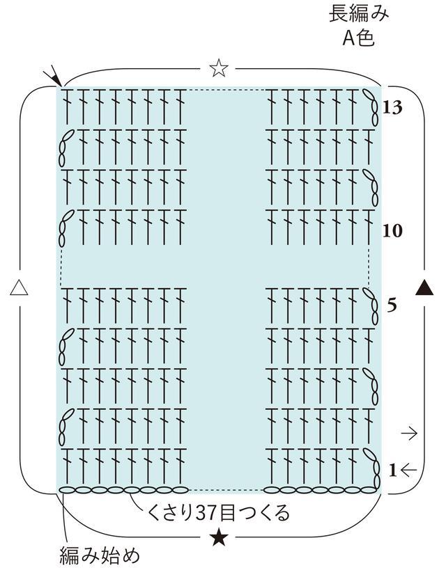 画像: 底の編み方図