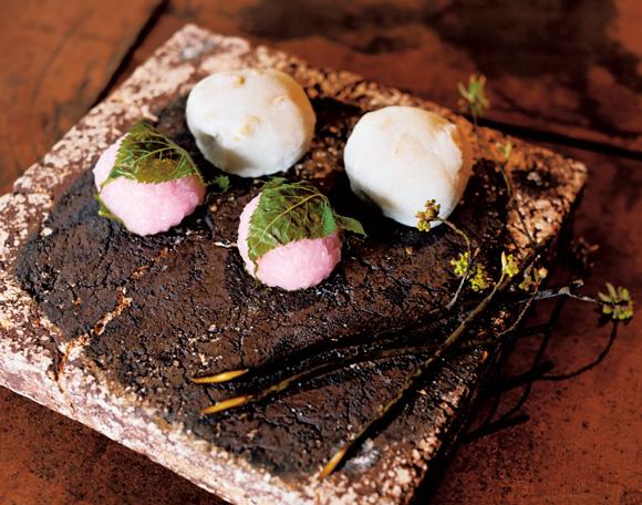画像: 抹茶を点てて、季節のお菓子を。庭で採ってきたクロモジで切り分けていただく。おいしさを目でも味わって心が満たされる