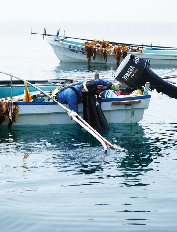 画像: 箱メガネで海底をのぞき込み、2年ものの昆布を見分け、竿を巧みに操って昆布を採っていく