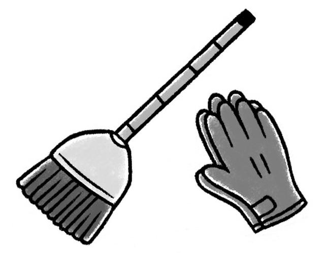 画像: 革の手袋とほうき