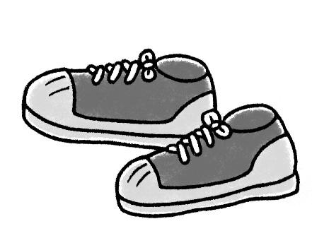 画像: 底が厚い運動靴