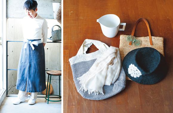 画像: アニエス・ベーの麻のスカートは何回か染め直して長く着用。最終的にはリボンを付けて、腰でキュッと巻くエプロンに
