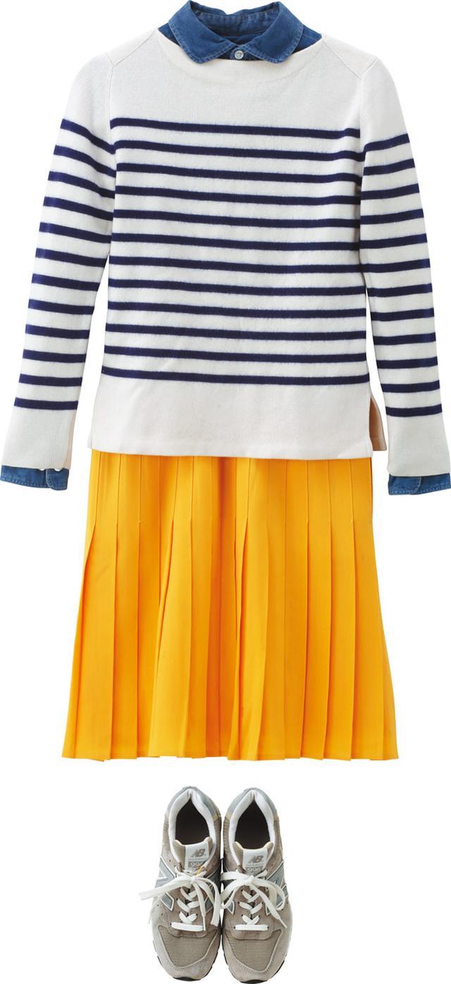 画像: シャツ+ボーダーのカジュアルな組み合わせに、あえてお行儀のいいプリーツスカートをプラスしてアクセントにする。スカートは、イタリアのスカート専門ブランド「ラ サルトリア デラゴンナ」のもの