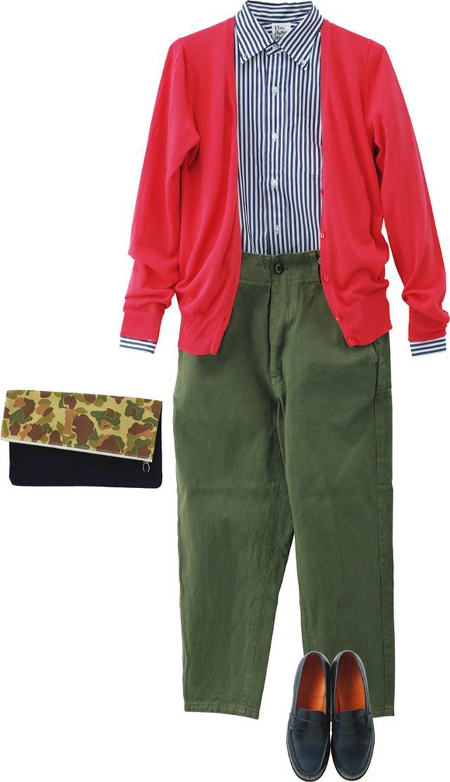 画像: さわやかな「バイオレット バッファロー ワロウズ」のストライプシャツに、「デイリー」のシンプルなパンツを合わせて。かわいらしい色合いの「イエナ」のカーディガンを羽織って、春の気分を満喫