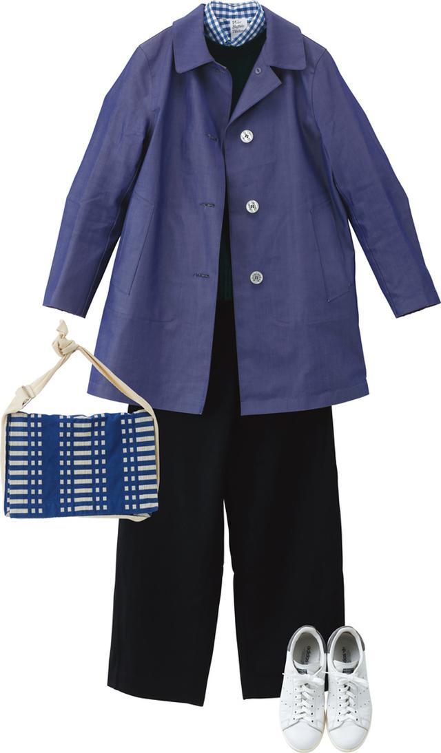 画像: かっちりした「バイオレット バッファロー ワロウズ」のシャツに、マニッシュな「マッキントッシュ」のコートを羽織って。重くなりがちな冬の装いは、小物や柄のなかに白をさし込んで軽やかさを出す