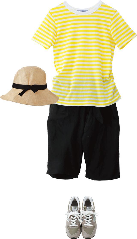 画像: 夏は、大好きな黄色を着ると元気になる。Tシャツとパンツは、ともに「オールドマンズテーラー」。つばが広めのストローハットは「クール」のもの。足元は、カジュアルに「ニューバランス」のスニーカーを合わせて