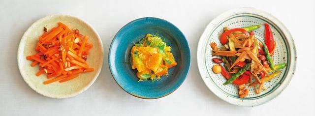 画像: 左から、山㟢さんの「にんじんナンプラーあえ」、タナカさんの「フルーツマリネサラダ」、金子さんの 「アスパラ、ごぼう、パプリカ、ナッツのきんぴら」