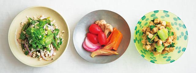 画像: 左から、山㟢さんの「ラープ」、タナカさんの「季節野菜のピクルス」、金子さんの「高野豆腐とチンゲン菜のえびごま味噌あえ」