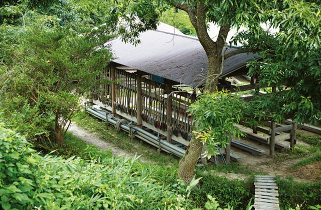 画像: 棚田にある3つの小屋は塾生たちが手づくりし、道具置き場や休憩所として使われる。小屋や橋づくり、動物への対策なども含め、田畑の全体を学ぶ